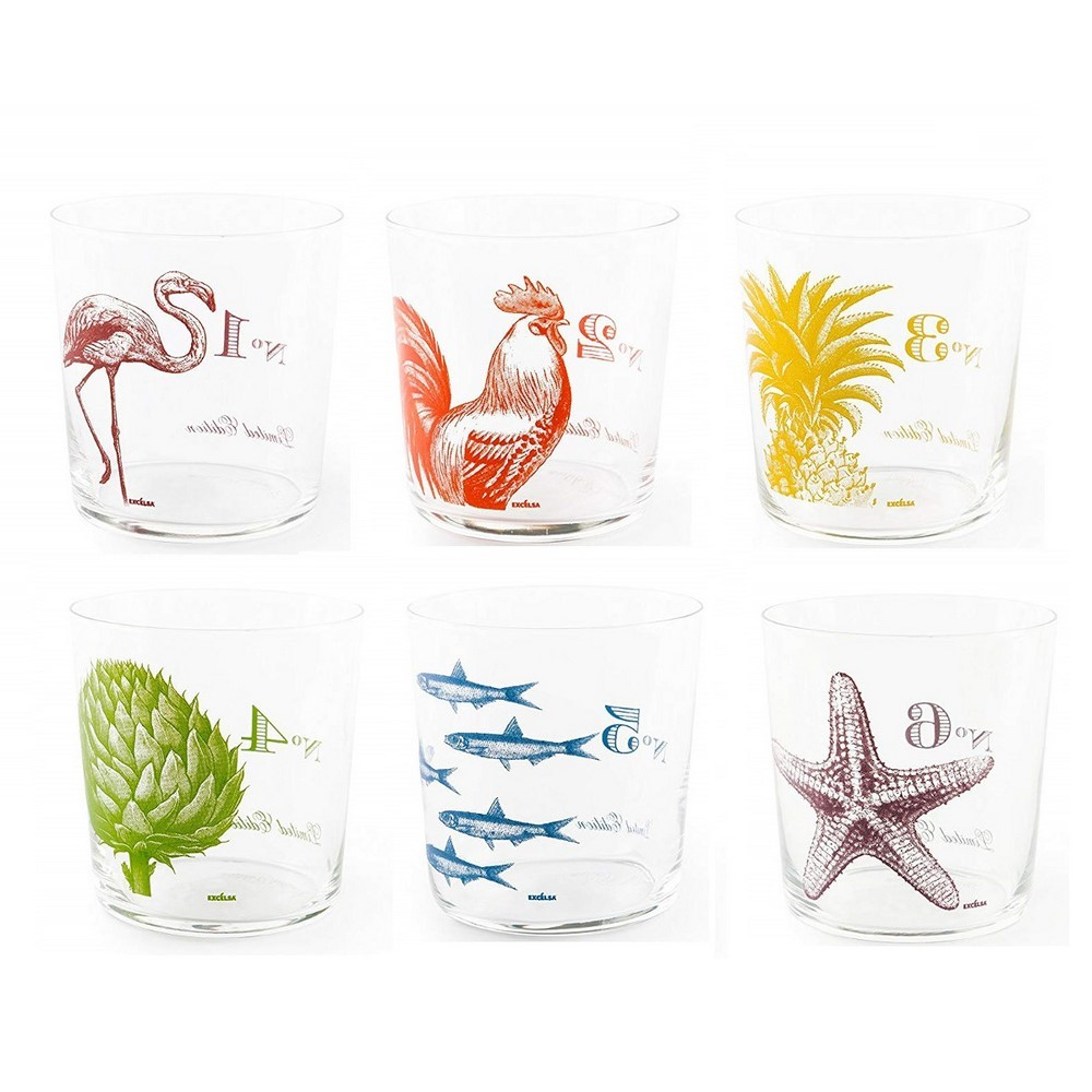 Bicchiere acqua vetro decorato fantasia FLORA ET FAUNA set 6 pezzi Excelsa