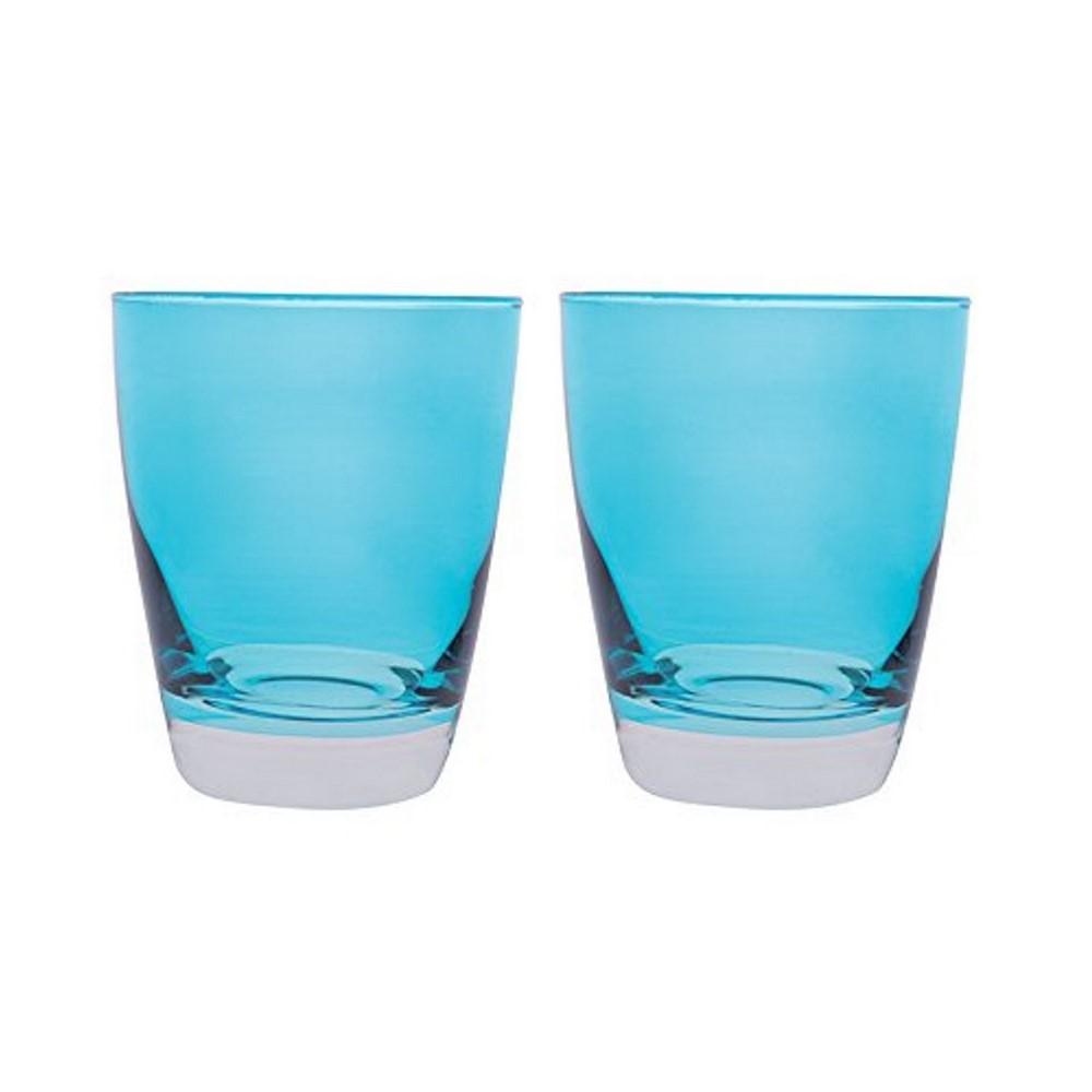 Bicchiere acqua vetro colorato serie Happy Azzurro cl 30 set 2 pezzi Excelsa