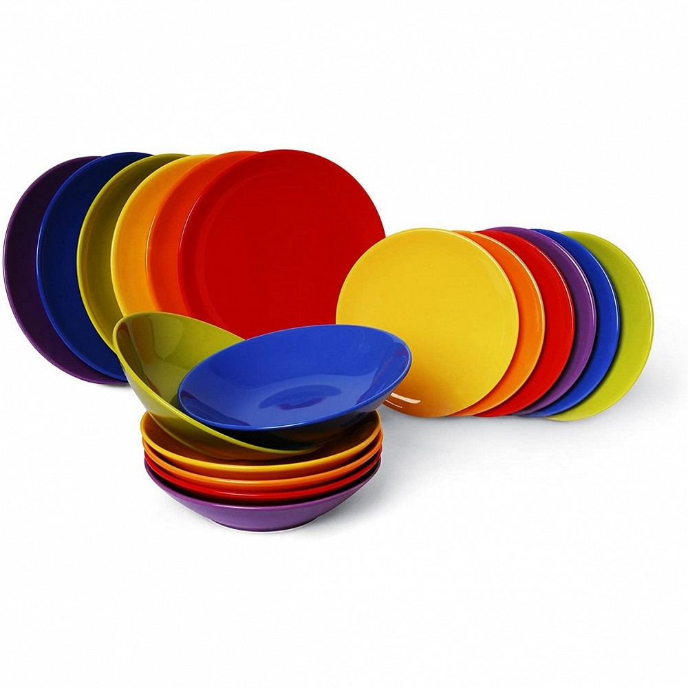 Trendy multicolor servizio tavola, ceramica, multicolore, 18 unita